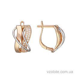 Золотые серьги с фианитами (арт. 2191425112)