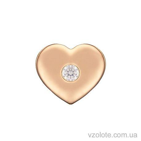 Золотой подвес Сердечко с фианитом (арт. 3104102101)