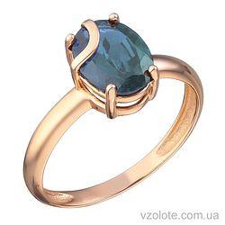 Золотое кольцо с топазом Лондон Блю (арт. 1191411101лб)