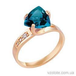 Золотое кольцо с топазом Лондон Блю (арт. 1190610101лб)