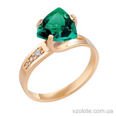 Золотое кольцо с зеленым кварцем (арт. 1190610101к)