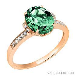 Золотое кольцо с зеленым кварцем (арт. 1190602101к)