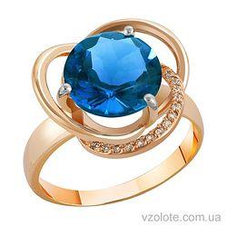 Золотое кольцо с топазом Лондон Блю (арт. 1190433101лб)