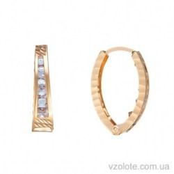 Золотые серьги с алмазной гранью и фианитами (арт. 2105422101)