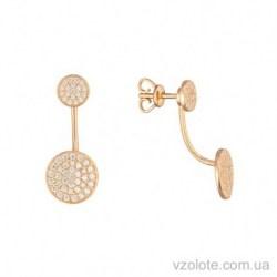 Золотые пусеты джекеты Пуговки с фианитами (арт. 2105473101)