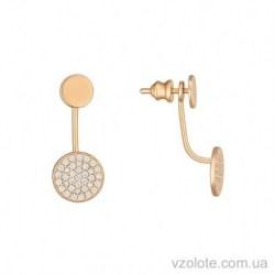 Золотые пусеты с подвеской Пуговка с фианитами (арт. 2105570101)