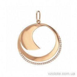 Золотая подвеска Волна с фианитами (арт. 3104880101)