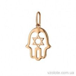 Золотая подвеска без камней Хамса со звездой Давида (арт. 3105420101)