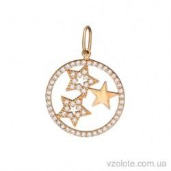 Золотой подвес Три звезды с фианитами (арт. 3105446101)