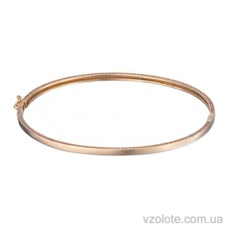 Золотой жесткий браслет с фианитами (арт. 4215413101)