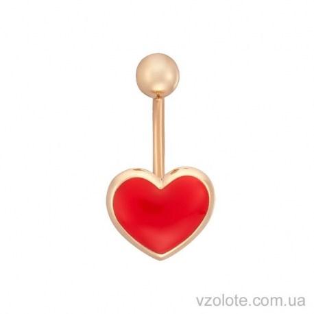 Золотой пирсинг Сердце с красной эмалью (арт. 6103894101)
