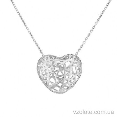 Колье из белого золота с подвеской Сердце (арт. 7005009102)