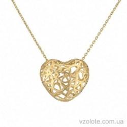 Колье в лимонном золоте с подвеской Сердце (арт. 7005009103)