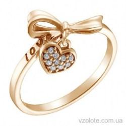 Золотое кольцо Бантик с подвеской сердце (арт. 1102888101)