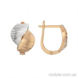 Золотые серьги с алмазной гранью Шик (арт. 2091294112)