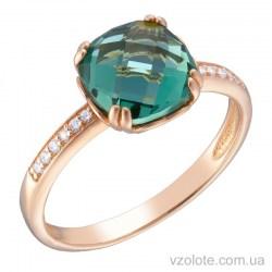 Золотое кольцо с турмалином и фианитами (арт. 1191071101тр)