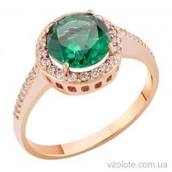Золотое кольцо с зеленым кварцем и фианитами (арт. 1190021101к)