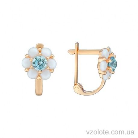 Золотые серьги с опалом и голубыми фианитами (арт. 2104608101)