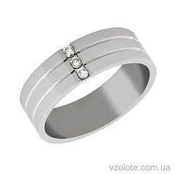 Обручальное кольцо из белого золота с бриллиантами Элегантность
