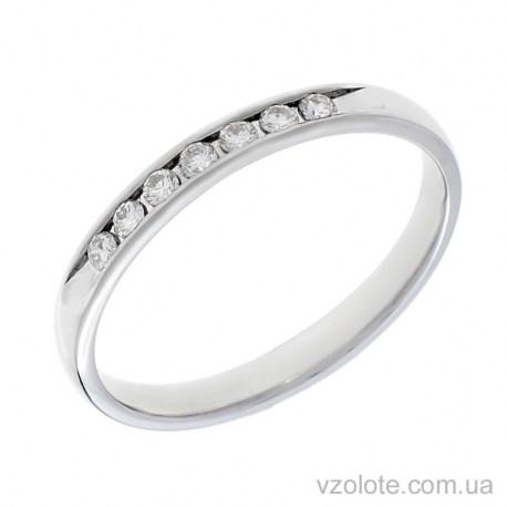 Обручальное кольцо из белого золота с бриллиантами (арт. Адель)