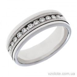 Обручальное матовое кольцо из белого золота с бриллиантами (арт. Агния)
