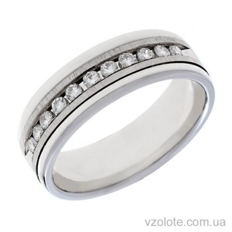 Обручальное матовое кольцо из белого золота с бриллиантами Агния