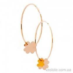 Золотые серьги кольца с подвеской Клевер (арт. 2005850101)