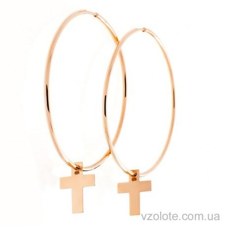 Золотые Серьги кольца с подвеской Крест (арт. 2005851101)