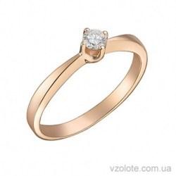 Золотое помолвочное кольцо с бриллиантом Глория (арт. 1101467201)