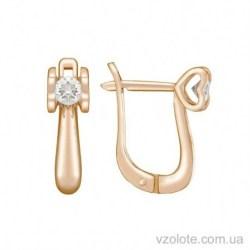 Золотые серьги с бриллиантом Любовь (арт. 2102718201)