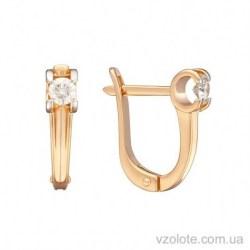 Золотые серьги с бриллиантом Камалия (арт. 2103509201)