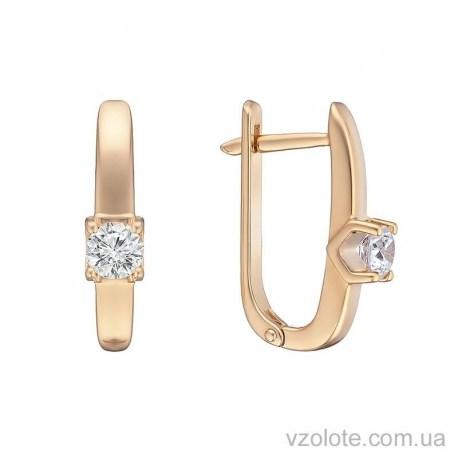 Золотые серьги с бриллиантом Ролла (арт. 2104311201)