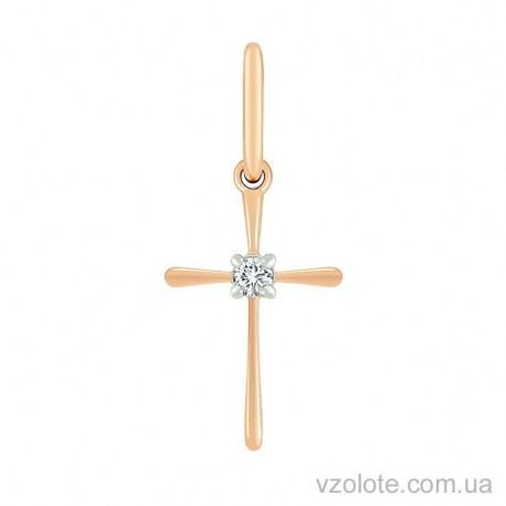 Золотой крестик с бриллиантом (арт. 3101446201)