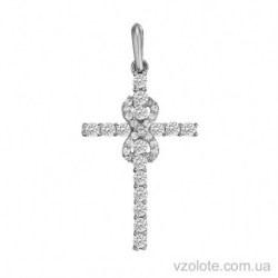 Крестик из белого золота с бриллиантами Вечность (арт. 3103641202)