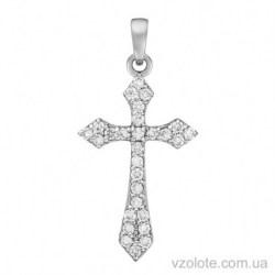 Крестик из белого золота с бриллиантами (арт. 3104072202)