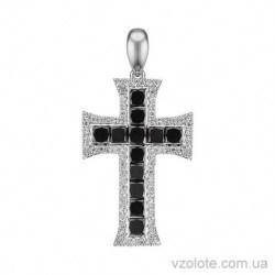 Крестик из белого золота с черными бриллиантами (арт. 3105326202)