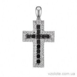 Крестик из белого золота с черными бриллиантами (арт. 3105327202)