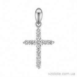 Крестик из белого золота с бриллиантами (арт. 3105331202)