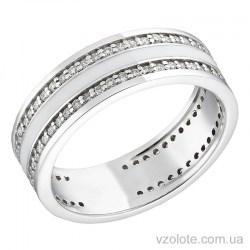 Обручальное кольцо из белого золота с бриллиантами и белой эмалью (арт. 1103192202б)