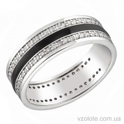 Обручальное кольцо из белого золота с бриллиантами и черной эмалью (арт. 1103192202ч)