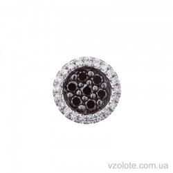 Круглая подвеска из белого золота с черными бриллиантами (арт. 3191105202)