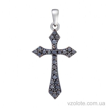 Крестик из белого золота с сапфирами (арт. 3104072202с)