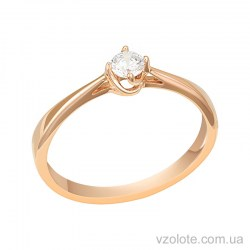 Золотое кольцо с бриллиантом (арт. 1190751201)