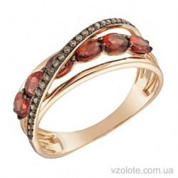 Золотое кольцо с гранатом и бриллиантами Карен (арт. 1102067201)