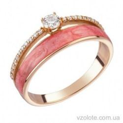 Золотое кольцо с бриллиантами и цветной эмалью (арт. 1103227201)