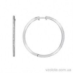 Серьги-кольца из белого золота с бриллиантами (арт. 2105154202)