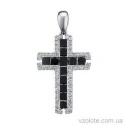Крестик из белого золота с черными бриллиантами (арт. 3105150202)