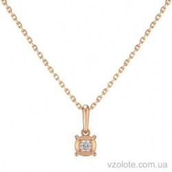 Золотое колье с подвеской с бриллиантом Стея (арт. 7104826201)