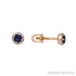 Золотые пусеты с бриллиантами и сапфиром (арт. 2103449201)