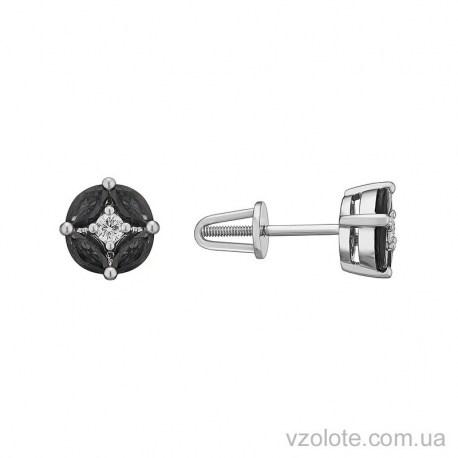 Пусеты из белого золота с черными бриллиантами Ната (арт. 2105151202)